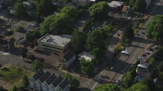 AX53_065 - 5K stock footage aerial video track gondolas over city streets, Southwest Portland, Oregon