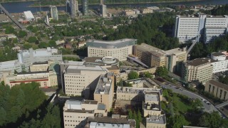 AX53_068 - 5K stock footage aerial video of flying by Oregon Health and Science University, Portland, Oregon