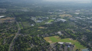 AX53_097 - 5K stock footage aerial video of flying by Nike Headquarters, Beaverton, Oregon