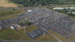 AX53_104 - 5K stock footage aerial video fly by BPA Keeler Substation, Hillsboro, Oregon