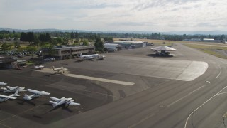 AX53_109 - 5K stock footage aerial video of landing at Hillsboro Airport, Oregon