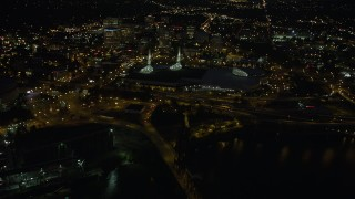 AX55_035 - 5K stock footage aerial video of approaching the Oregon Convention Center, Lloyd District, Northeast Portland, Oregon, night