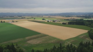 AX56_001 - 5K stock footage aerial video approach and fly over trees, crop fields and farms in Hillsboro, Oregon