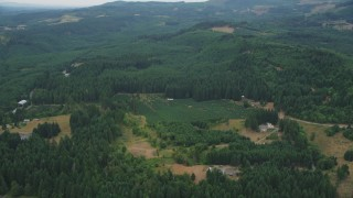 AX56_018 - 5K stock footage aerial video of tracking a small crop field beside evergreen forest in Washington County, Oregon