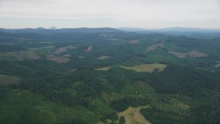 AX56_020 - 5K stock footage aerial video fly over evergreen forest and logging areas in Washington County, Oregon