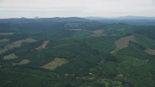 AX56_023 - 5K stock footage aerial video of clear cut logging areas and evergreen forest in Washington County, Oregon