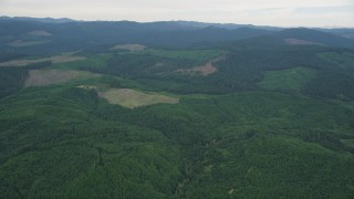AX56_027 - 5K stock footage aerial video of passing some clear cut logging areas and evergreen forest in Washington County, Oregon