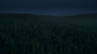 AX56_044_DFN2 - Aerial stock footage of 4K day for night color corrected aerial footage of flying over evergreen forest, reveal a hillside clear cut area in Clatsop County, Oregon