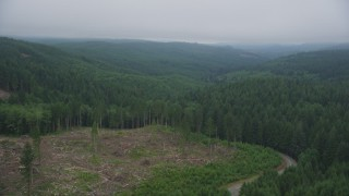 AX56_047 - 5K stock footage aerial video fly over a logging area and evergreen forest in Clatsop County, Oregon