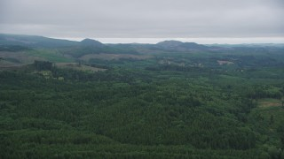 AX56_061 - 5K stock footage aerial video of evergreen forest and clear cut areas in the hills in Clatsop County, Oregon