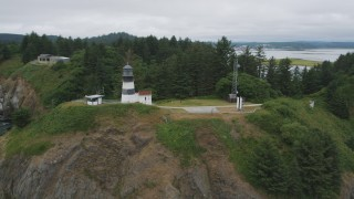 AX56_094 - 5K stock footage aerial video of flying away from Cape Disappointment Light and coastal cliffs, Washington