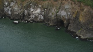 AX56_100 - 5K stock footage aerial video of sea cave at the base of a cliff in Cape Disappointment, Washington