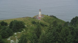 AX56_114 - 5K stock footage aerial video flyby North Head Light, overlooking the Pacific Ocean in Ilwaco, Washington