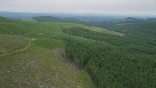 AX56_167 - 5K stock footage aerial video of clear cut logging area on the edge of an evergreen forest in Pacific County, Washington