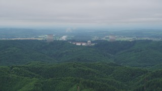 AX57_006 - 5K stock footage aerial video of tops of the cooling towers at Satsop Nuclear Power Plant, Satsop, Washington