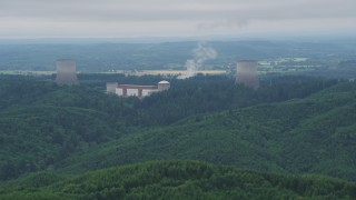 AX57_008 - 5K stock footage aerial video of the cooling towers of Satsop Nuclear Power Plant, Satsop, Washington