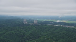 AX57_011 - 5K stock footage aerial video of flying by the Satsop Nuclear Power Plant, Satsop, Washington