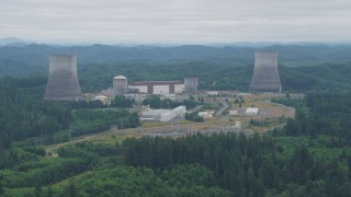 AX57_016 - 5K stock footage aerial video of a view of the Satsop Nuclear Power Plant facility in Satsop, Washington