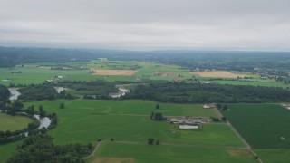 AX57_017 - 5K stock footage aerial video of farms and crop fields in Satsop, Washington
