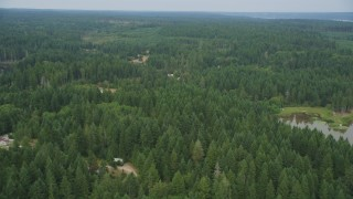 AX58_027 - 5K stock footage aerial video fly over forest and rural homes in Vaughn, Washington