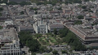 AX59_015 - 5K stock footage aerial video of St. Louis Cathedral and Jackson Square, New Orleans, Louisiana