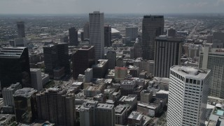 AX59_017 - 5K stock footage aerial video approach One Shell Square skyscraper in Downtown New Orleans, Louisiana