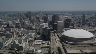 AX59_022 - 5K stock footage aerial video approach Downtown New Orleans skyscrapers and Mercedes-Benz Superdome, Louisiana