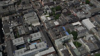 AX59_033 - 5K stock footage aerial video of bird's eye view of city streets and buildings in the French Quarter, New Orleans, Louisiana
