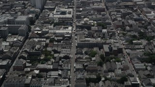 AX59_035 - 5K stock footage aerial video tilt to a bird's eye view of Bourbon Street in the French Quarter, New Orleans, Louisiana