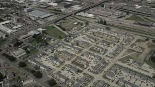 AX59_038 - 5K stock footage aerial video of Calliope Projects apartment buildings in Central City New Orleans, Louisiana