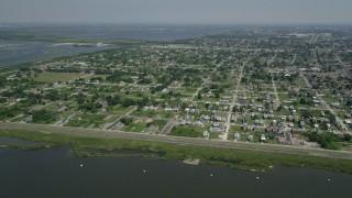 AX59_050 - 5K stock footage aerial video of Lower Ninth Ward neighborhoods in New Orleans, Louisiana