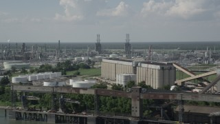 AX60_020 - 5K stock footage aerial video of the Marathon Garyville Refinery in Reserve, Louisiana