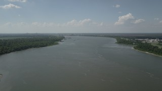 AX60_023 - 5K stock footage aerial video of a view of the Mississippi River by Edgard, Louisiana