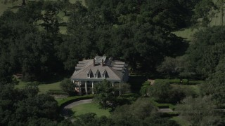 AX60_039 - 5K stock footage aerial video of orbiting Oak Valley Plantation and grounds in Vacherie, Louisiana