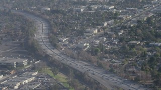 AX64_0007 - 5K stock footage aerial video of light traffic on Highway 170 in North Hollywood, California