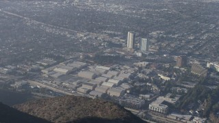 AX64_0022 - 5K stock footage aerial video of Warner Bros Studios in Burbank, California