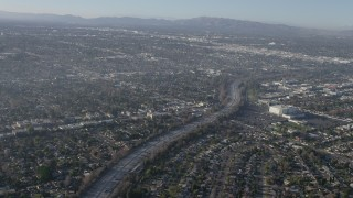 AX64_0028 - 5K stock footage aerial video of Highway 170 and suburban neighborhood in North Hollywood, California