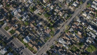 AX64_0036 - 5K stock footage aerial video bird's eye of a suburban neighborhood in Sun Valley, California