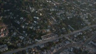 AX64_0074 - 5K stock footage aerial video of homes on hills in Silver Lake, California