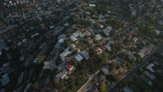 AX64_0075 - 5K stock footage aerial video of hillside and hilltop homes in Silver Lake, California