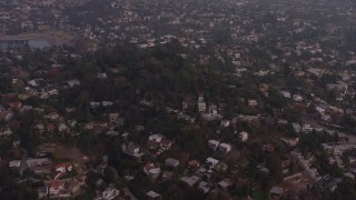 AX64_0177 - 5K stock footage aerial video of hillside homes at twilight in Silver Lake, California