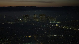 AX64_0282 - 5K stock footage aerial video of Century City skyscrapers and high-rises in Los Angeles, California, night