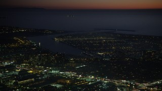 AX64_0293 - 5K stock footage aerial video of the Marina Del Rey harbor at night, California