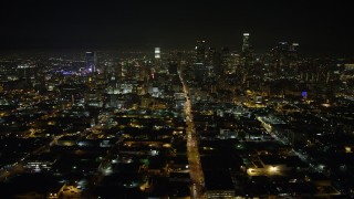 AX64_0386 - 5K stock footage aerial video of a view north at Downtown Los Angeles skyscrapers, California, night