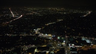 AX64_0416 - 5K stock footage aerial video of neighborhoods and city streets in Echo Park, Los Angeles, California, night