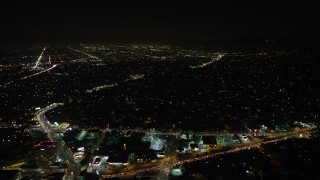 AX64_0417 - 5K stock footage aerial video of city streets and neighborhoods, Echo Park, Los Angeles, California, night