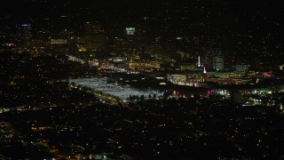 AX64_0423 - 5K stock footage aerial video of a view of the Glendale Galleria shopping mall at night in California