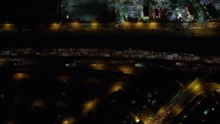 AX64_0432 - 5K stock footage aerial video of a bird's eye of freeway traffic on Interstate 5, Burbank, California, night