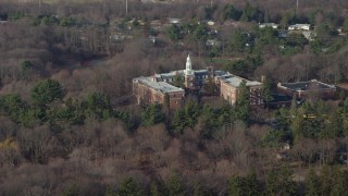 AX65_0012 - 5K stock footage aerial video of Our Lady of Mercy Academy in Syosset, Long Island, New York, winter