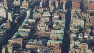 AX65_0048 - 5K stock footage aerial video approach Low Memorial Library on the Columbia University campus in New York City, winter